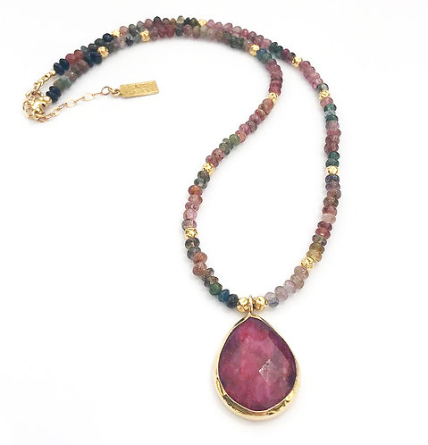 Multi-Stone Statement Necklace Red