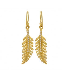 Silver Gold Plated Feather Earrings