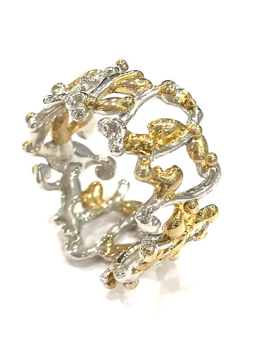 Enigma Sterling Silver Gold Plated Squiggle Ring