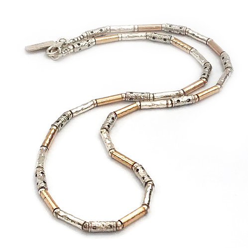 Silver & Yellow Gold Skinny Necklace