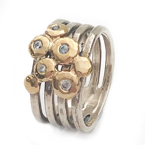 Wide Artistic Silver & Rolled Gold Ring