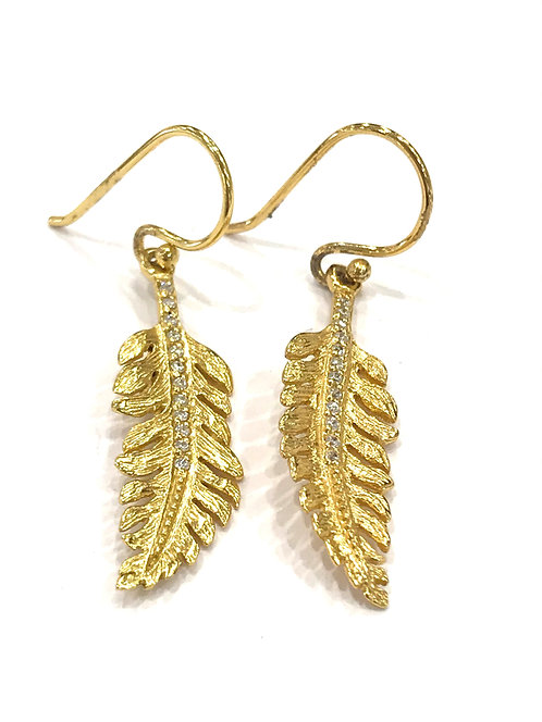 Enigma Sterling Silver Gold Plated Feather Earrings