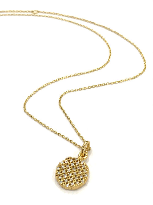 Enigma Sterling Silver Gold Plated Mini Circle Necklace