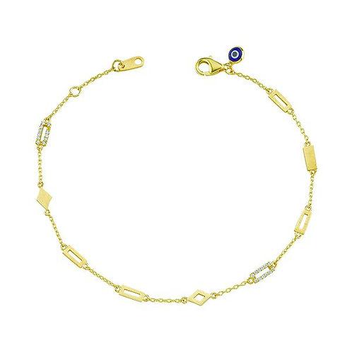 My Jools 14ct Rectangular Geometric Diamond Bracelet