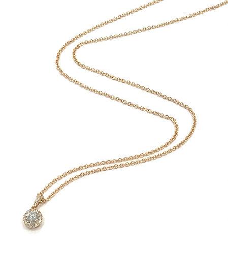 Galio 18ct Rose Gold Diamond Halo Necklace