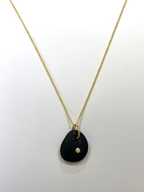 18ct Yellow Gold Diamond & Pebble Necklace
