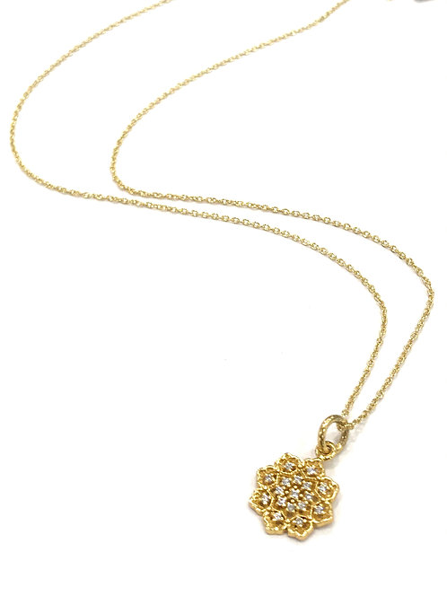 Enigma Sterling Silver Gold Plated Mini Flower Necklace