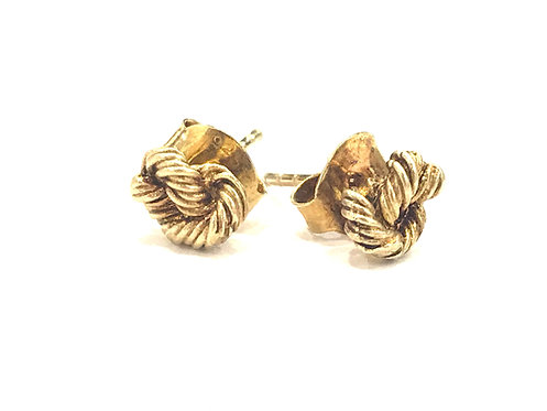 Enigma Sterling Silver Gold Plated Rope Studs