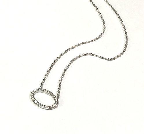Galio 18ct White Gold Diamond Oval Necklace