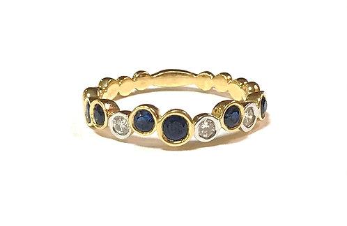 Galio 18ct Yellow Gold Sapphire Bubble Ring