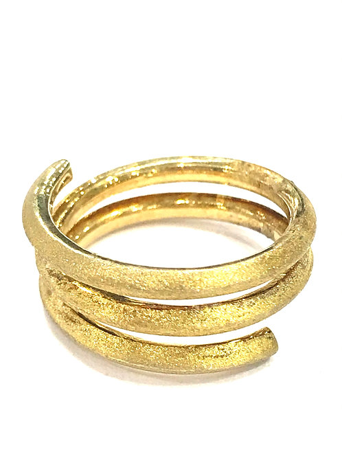 Enigma Sterling Silver Gold Plated Swirl Ring