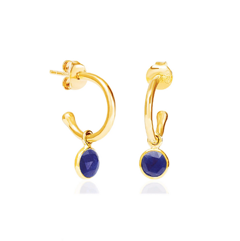 Lapis Lazuli September Birthstone Hoop Earrings