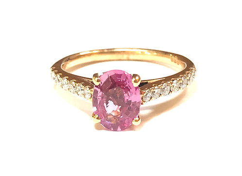 Galio 18ct Rose Gold Diamond & Pink Sapphire Ring