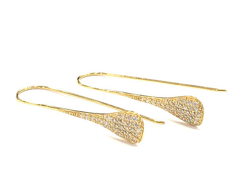 Enigma Sterling Silver Gold Plated Pear Drop Earrings