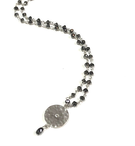 Galio 18ct White Gold Hammered Disc Necklace