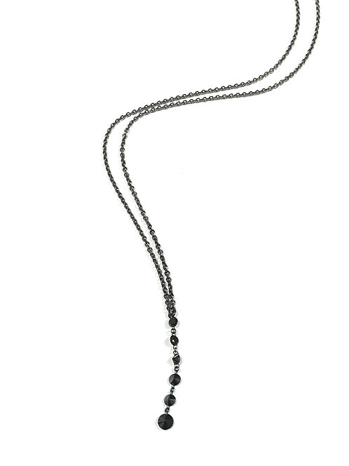 Galio 18ct White Gold Black Diamond Drop Necklace