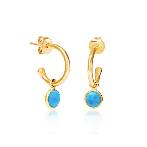 Turquoise December Birthstone Hoop Earrings