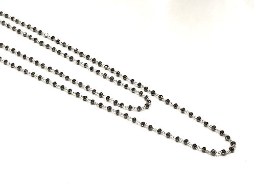 Galio 18ct White Gold Long Black Diamond Necklace