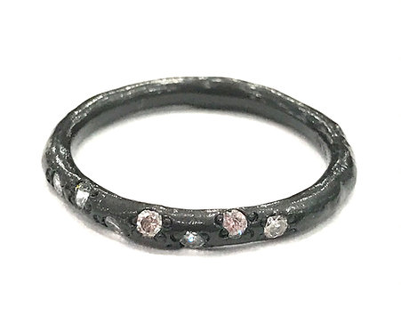 Enigma Sterling Silver Black Rhodium Stacking Ring