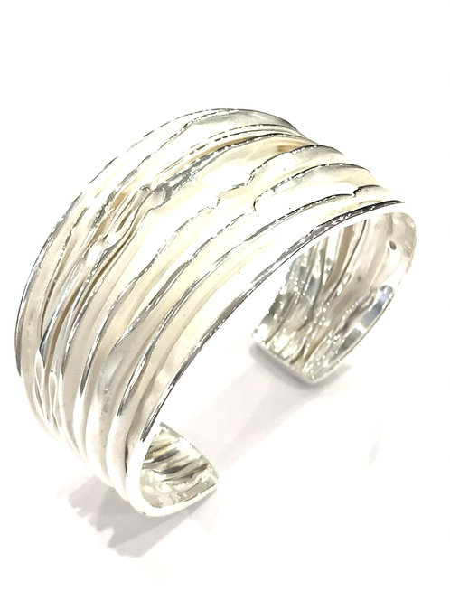 Enigma Sterling Silver Large Wave Bangle