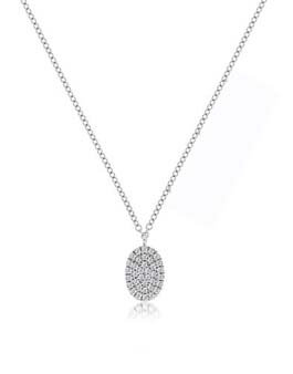 Meira T 14ct White Gold Pave Diamond Oval Necklace