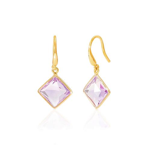 Geometric Amethyst Drop Earrings