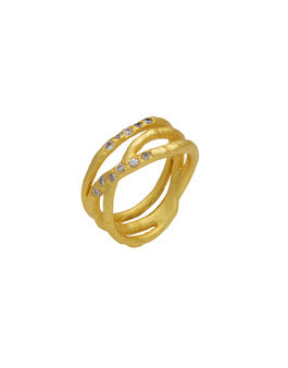 Silver Gold Plated Triple Row Ring