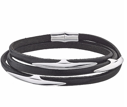Silver Multi Arc Black Leather Wrap Bracelet