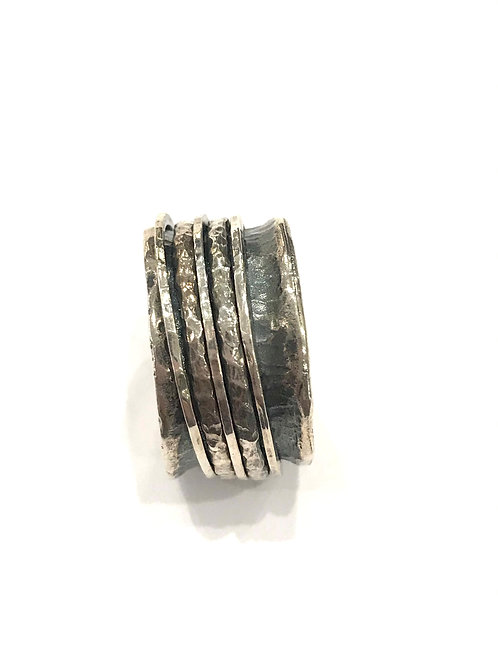 Yaron Morhaim Spinner Textured Silver Ring