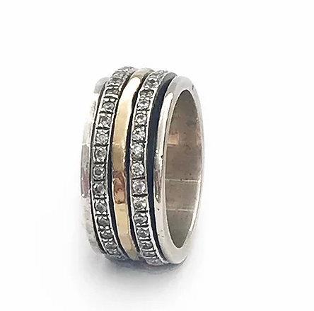 Yaron Morhaim Spinner Rolled Gold & Zirconia Ring