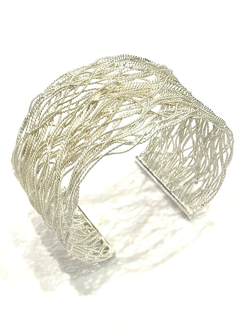 Enigma Sterling Silver Squiggle Wide Bangle