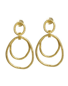 Silver Gold Plated Triple Circle Drop Earrings