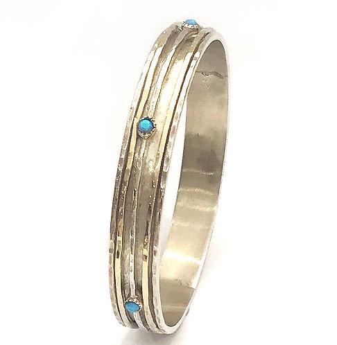 Silver & Opal Bangle