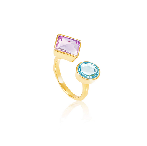 AUREN Axiom Amethyst and Topaz Ring AUAR002GC1