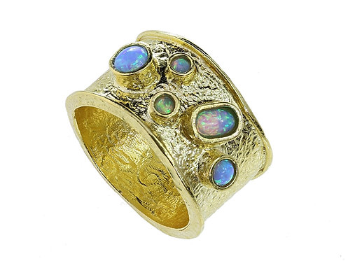 Yaron Morhaim Rolled Gold & Multiple Opal Ring