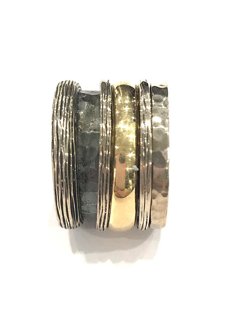 Yaron Morhaim Spinner Textured Rolled Gold Ring