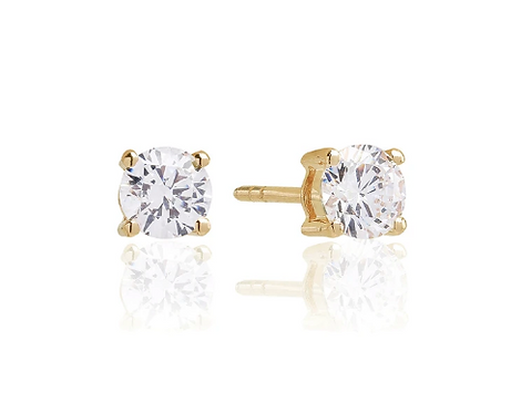 Sif Jakobs Yellow Gold Vermeil Princess Round Studs
