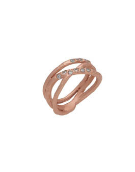 Enigma Silver Rose Gold Plated Triple Row Ring