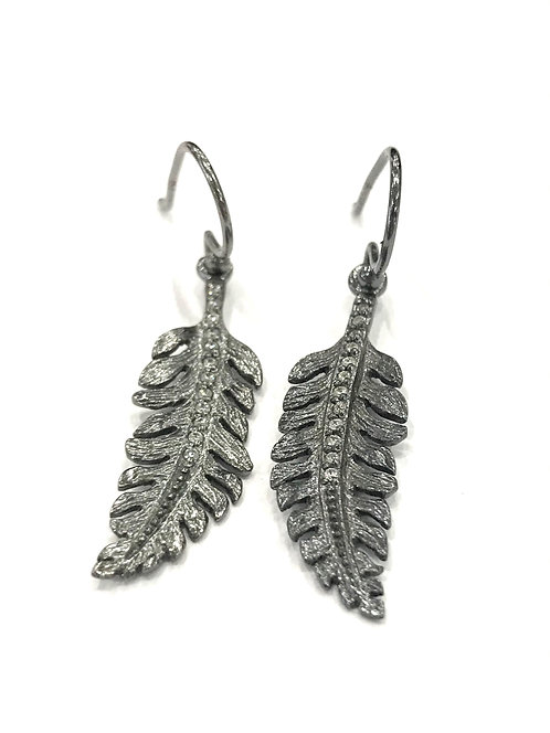 Enigma Sterling Silver Black Rhodium Feather Earrings