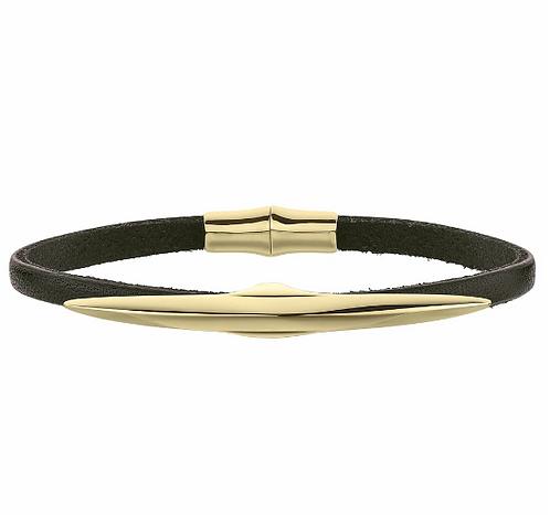 Mens Yellow Gold Vermeil Arc Single Leather Wrap Bracelet