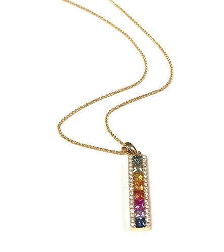 Galio 18ct Yellow Gold Rainbow Sapphire & Diamond Necklace