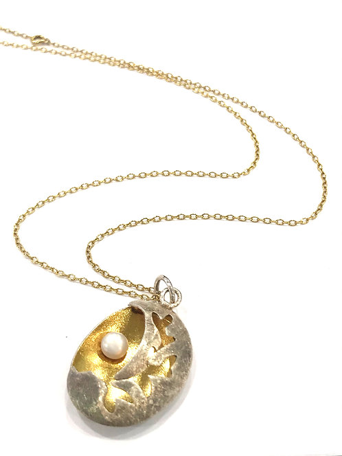 Enigma Sterling Silver Gold Plated Pearl Necklace