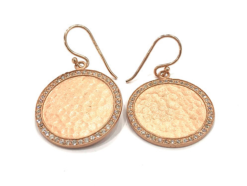 Enigma Sterling Silver Rose Gold Plated Disc Earrings