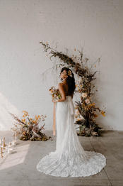 Photography: Goce Photos   Planning: M Element Events   Bride's Dress: The Bride's Project    Venue: District 28   Flowers: The Moody Blooms   Linens: Chair Decor   Rentals: The Event Rental Group   Invitations: Silver Plate Press   Cake: Culinary Confections   Hair: Imurdah Hair   Makeup: Kat Milligan   Candles: Terradomi Candle Co.   Jewellery: Kim Drosdick Jewellery   Candles: White Witch Candle