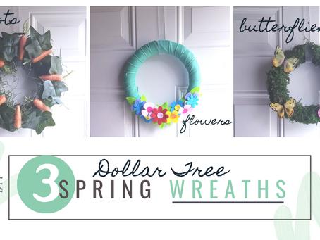 3 of the Easiest & Cutest Dollar Store DIY Spring Wreaths