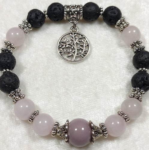 Dusty Rose Jade with Tree of Life Charm Scented