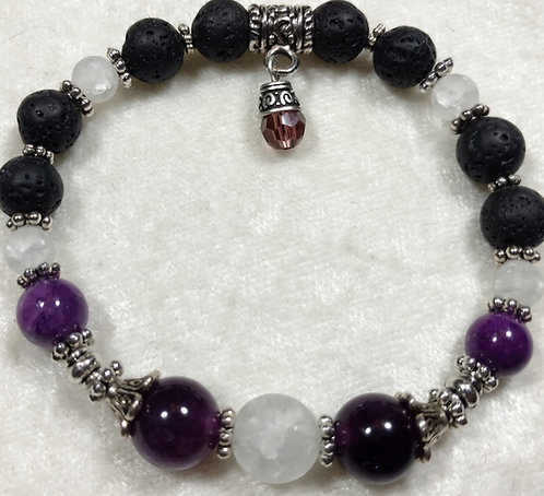 White Crackled Crystal & Amethyst with Swarovski Crystal Charm Scented
