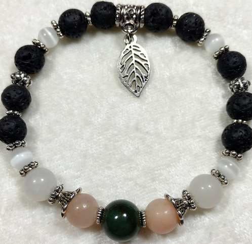 Green Jade & Aventurine with Leaf Charm Unscented