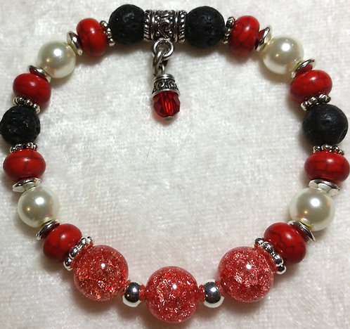 Watermelon Crackled Agate with Swarovski Crystal Charm Unscented
