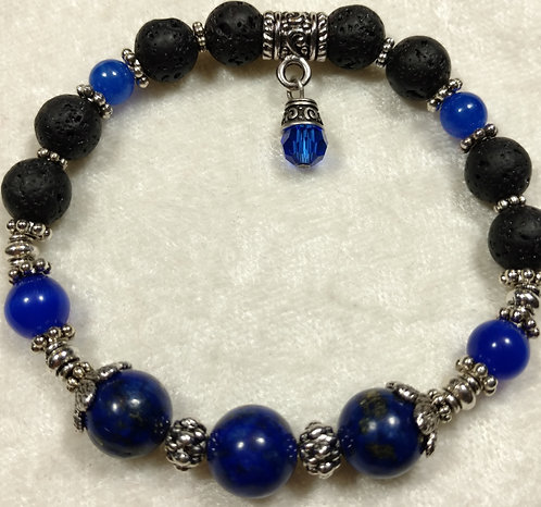 Lapis Lazuli with Swarovski Crystal Charm Unscented